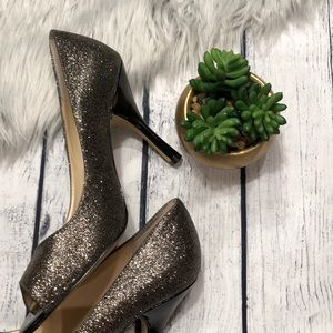 Nine west bronze glitter peep toe pumps